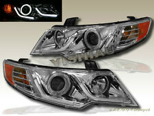 FIT 10-13 FORTE/FORTE COUP CCFL HALO LED STRIP R8 G2 CHROME PROJECTOR HEADLIGHTS