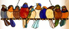 """Tiffany Stained Glass Panel -""""Birds On A Branch"""""""