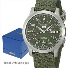 Seiko 5 Military-Style Automatic Field Watch with Green Canvas Strap #SNK805K2