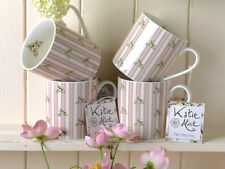 Set of 4 KATIE ALICE Cottage Flower PINK STRIPE Shabby Chic MUGS Vintage Inspire