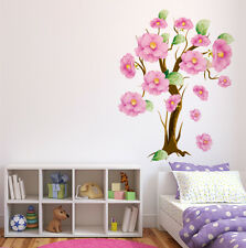 Wall Stickers Tree with Beautiful Large Pink Elegant Flowers for Home