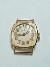 Solid 18k Gold 1915 Illinois Watch Co Mens Cushion Case Springfield 19J Movement
