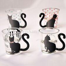 300ml Tasse Thé Café Lait en verre Mug Résistant à Chaleur Transparent Chat