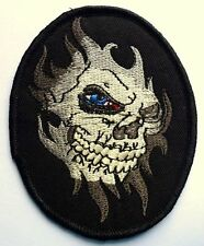 BLUE EYED SKULL GHOUL - SEW ON BIKER MOTORCYCLE PATCH 90mm by 72mm
