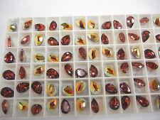 8 swarovski pearshape stones,10x7mm rose volcano #4320
