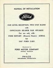 OEM 1937 FORD MANUAL OF INSTALLATION EAR LEVEL,RECEPTION,2 RADIO,PHILCO 39-5613