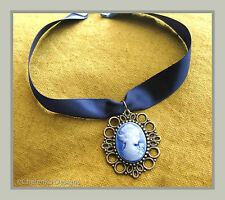 Vintage Bohemian Victorian Blue Satin Ribbon Lady Cameo Pendant Choker Necklace