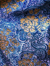 "Blue & Gold Paisley Floral Metallic Brocade Fabric 60""W Tablecloth Drape"