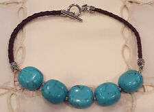 Ralph Lauren Faux Turquoise Brown Leather Cord Choker Necklace Statement RLL