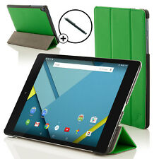 Leather Green Folding Case Cover for HTC Google Nexus 9 With Stylus