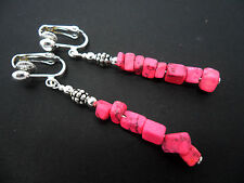 A PRETTY PAIR OF PINK AGATE CHIPS  DANGLY  CLIP ON EARRINGS. NEW.