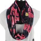 Fashion Women's Rose Flowers Print 2-Layer Chiffon Stitching Infinity Scarf New