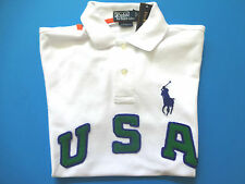 New Ralph Lauren Polo Pony Logo Custom Fit USA White Summer Shirt L