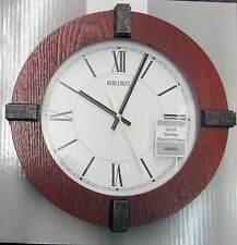 "SEIKO NEW ROUND WOODEN WALL CLOCK 12"" IN DIAMETER ""BAUHAUS"" QXA666BLH"