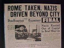 VINTAGE NEWSPAPER HEADLINE ~WORLD WAR 2 GERMAN NAZI ARMY DRIVEN OUT OF ROME WWII