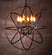Vintage Industrial Chandelier Pendant Light Ceiling Lamp Metal Cage 6 lights