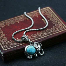 Cute Turquoise Pendant Necklace Womens Fashion Small Elephant Chain Jewelry Gift