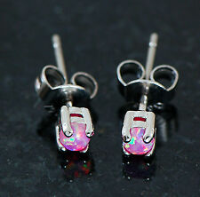 Pair Of 3mm Prong Set Pink Fire Opal 316L Surgical Steel Earrings Ear Studs 20G