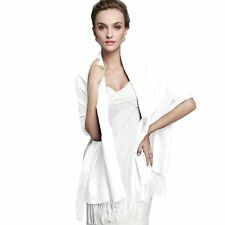 Fashion women Long Solid Cashmere Pashmina Scarf Wrap Shawl color White