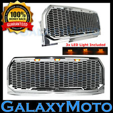 15-17 Ford F150 Raptor Chrome Front Hood Replacement Mesh Grille+Shell+LED Light