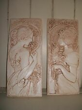 2 Art Deco Nouveau mocha architectural plaster wall hanging decorative plaques