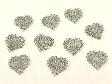 MT68- 10pc 22mm Crystal Diamante Rhinestone Heart, Wedding Topper Buckle