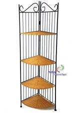Metall Eckregal Gartenmöbel Regal mit 4 Ablageflächen Rattan