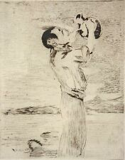 I1-001 - WATER DRINKER. AQUATINT ON PAPER. EDOUARD MANET. 19TH CENTURY.