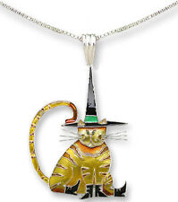 "Zarah Zarlite Pointy Hat CAT NECKLACE 18"" Sterling Silver Chain - Gift Boxed"