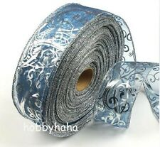 New 6.3*200cm Nice holiday Christmas Gift Silver Blue Grosgrain Ribbon