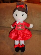 Doll Brown Hair Red Dress My First Christmas Girl Baby Starters Plush Snowflake