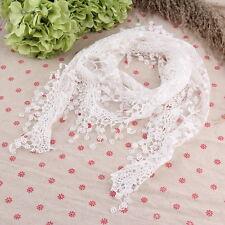 Lace Sheer Floral Print Triangle Veil Church Mantilla Scarf Shawl Wrap Tassel HY