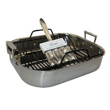 All-Clad Stainless Steel Large Roasting Pan Non-Stick Rack & Turkey Forks 501631