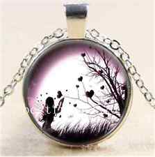 Fairy at love tree Cabochon Glass Tibet Silver Chain Pendant  Necklace#2837