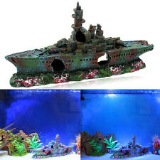 Resin Wreck Sailing Boat Vessel Decor Fish Tank Aquarium Ornament 230x110x40mm