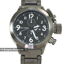 "mens gunmetal military mission clubbing watch designer black dial 8"" bracelet"
