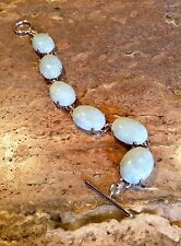 BEAUTIFUL STERLING SILVER GREEN JADE TOGGLE BRACELET GORGEOUS!!!