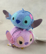 New 2pcs Disney Tsum Tsum Stitch and Lilo Angel Mini Plush Toy Doll Key Chain
