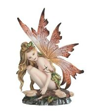 "6.25"" Fairy with Red Wings Resting on Log Figurine Statue Figure magic Fantasy"