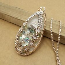 Gold-plated Mosaic crystal Drop chain Fashion charm long necklace AA457