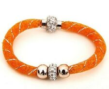 ORANGE MESH DOUBLE SHAMBALLA, BEAD STARDUST CRYSTAL MAGNETIC BRACELET