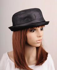 JM288 Black Rock Faux Leather Winter Autumn Hat Cap Fedora Bucket Cowboy Men's