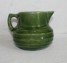 Nelson McCoy Stoneware Pitcher Green Glazed Shield Mark 121