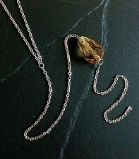 Amber Y-Drop Necklace--Glass Bead on Stainless Steel Chain / November Birthstone
