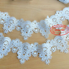 1 Yard Embroidered Lace Trim Applique Ribbon Wedding Bridal Sewing Crafts FL138
