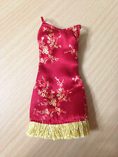 Barbie Doll My Scene Outfit Cloth Red Chinese Oriental Floral Fringe Dress Rare