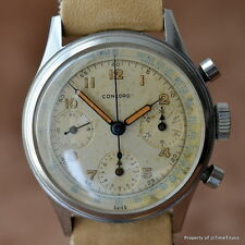 CONCORD EARLY VALJOUX 72 VINTAGE CHRONOGRAPH GREAT PATINA ALL ORIGINAL STEEL