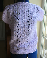 New Hand Knitted Top lilac lace design slash neck medium size 14