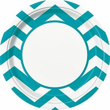 "8 Caribbean Teal Blue White Chevron ZigZag Birthday Party Large 9"" Paper Plates"