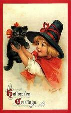 HALLOWEEN, GIRL DRESSED AS WITCH, WITH BLACK CAT, FRIDGE MAGNET